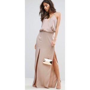 Asos Rose Dust Drape Front Strap Back Maxi Dress